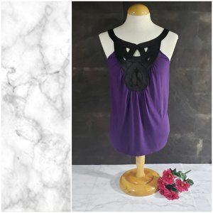 Express Purple Tank Top Small Black Embroidery